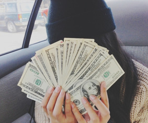 money, girl, and dollar image