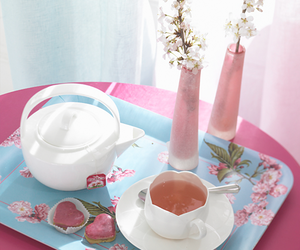 floral, pink table, and tea image