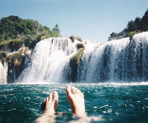 waterfall, water, and summer image