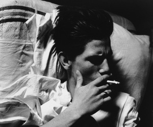 black and white, boy, and cigarette image