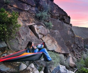 camping, clever, and hammock image