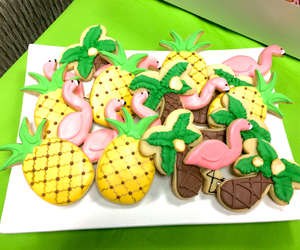 Cookies, dessert, and flamingos image