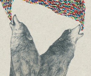 wolf, art, and colorful image