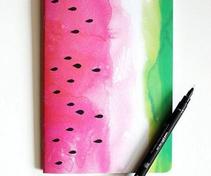 watermelon, notebook, and watercolor image