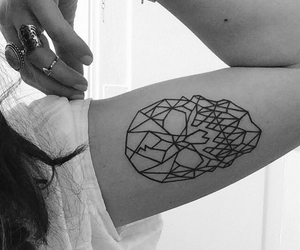 geometric, skull, and tattoo image
