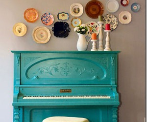piano, music, and plate image