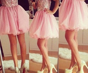 dress, pink, and heels image