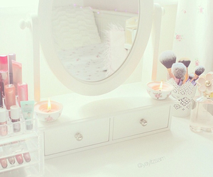 candles, dressing table, and girly image