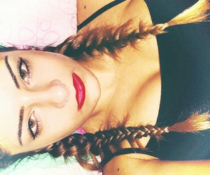 braids, face, and green eyes image