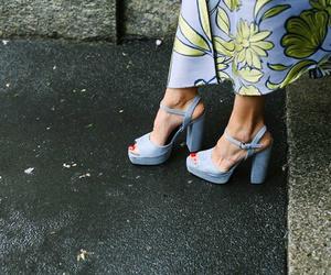 blue, platform heels, and floral image