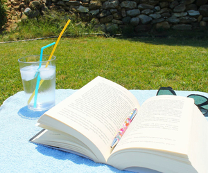 book, chilling, and garden image