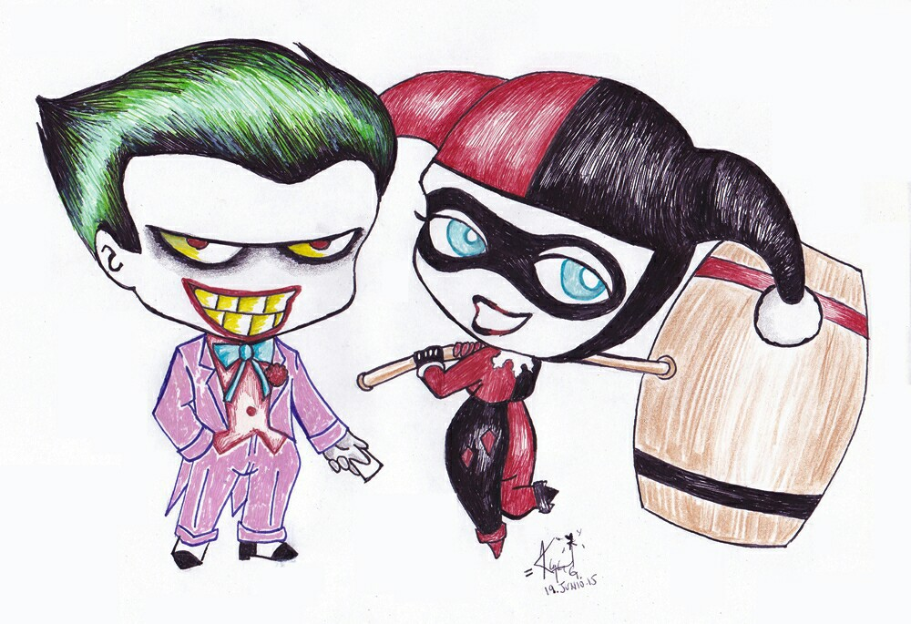 Joker And Harley Quinn Drawing 3 On We Heart It