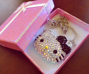 hello kitty, pink, and necklace image