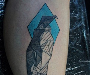 ink, bird tattoo, and color tattoo image