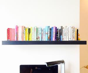 books, bookshelf, and desk image