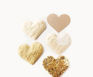 background, heart, and gold image