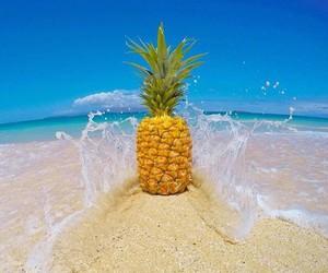 sand, beach, and pineapple image