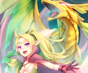 anime, anime girl, and dragon image
