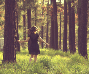 dress, pretty, and trees image