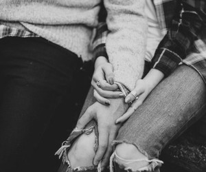couple, black and wight, and hands image