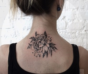 back tattoo, flower tattoo, and girl tattoo image