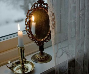 mirror, candle, and window image