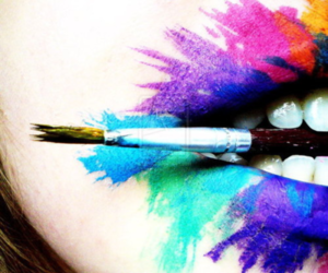 girl, lips, and paint image