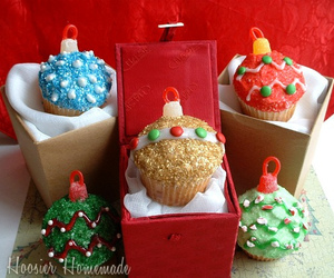 cupcake, ornament, and glittery christmas image