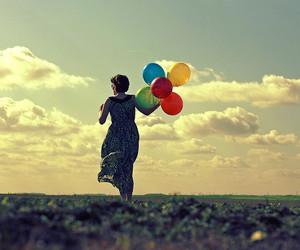 sky, girl, and balloons image