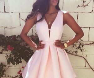 dress, pink, and outfit image