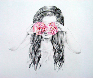 girl, flowers, and drawing image