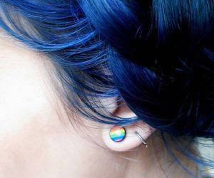 blue, hair, and piercing image