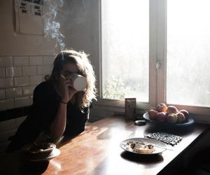 coffee, girl, and morning image