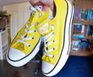 converse, yellow, and girl image