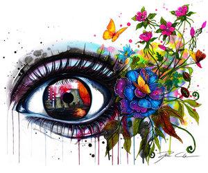 eye, art, and flowers image