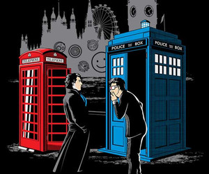 sherlock, doctor who, and tardis image