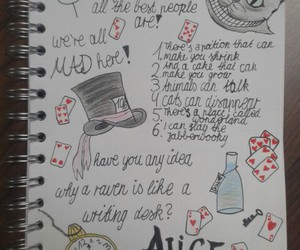 alice in wonderland, drawing, and notebook image