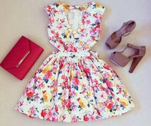 dress, floral, and heels image