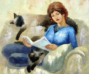 book, cats, and read image