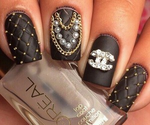 black, gold, and nail art image