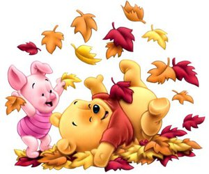 piglet, winnie the pooh, and autumn image