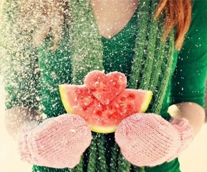 snow, watermelon, and heart image