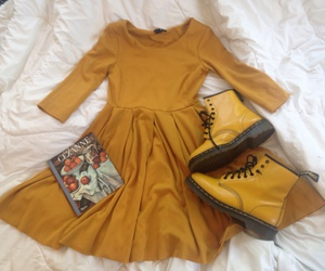 aesthetic, dress, and yellow image