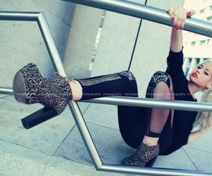 blonde, leggins, and boots image