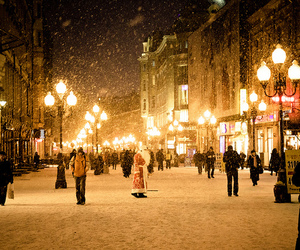 city, snow, and christmas image