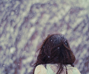 brunette, cold, and snowing image