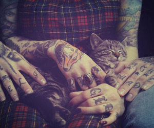 cat, tattoo, and couple image