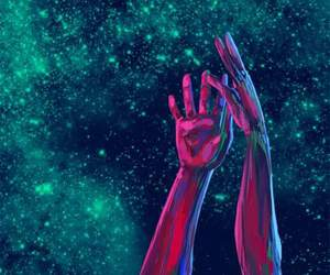 hands, space, and galaxy image