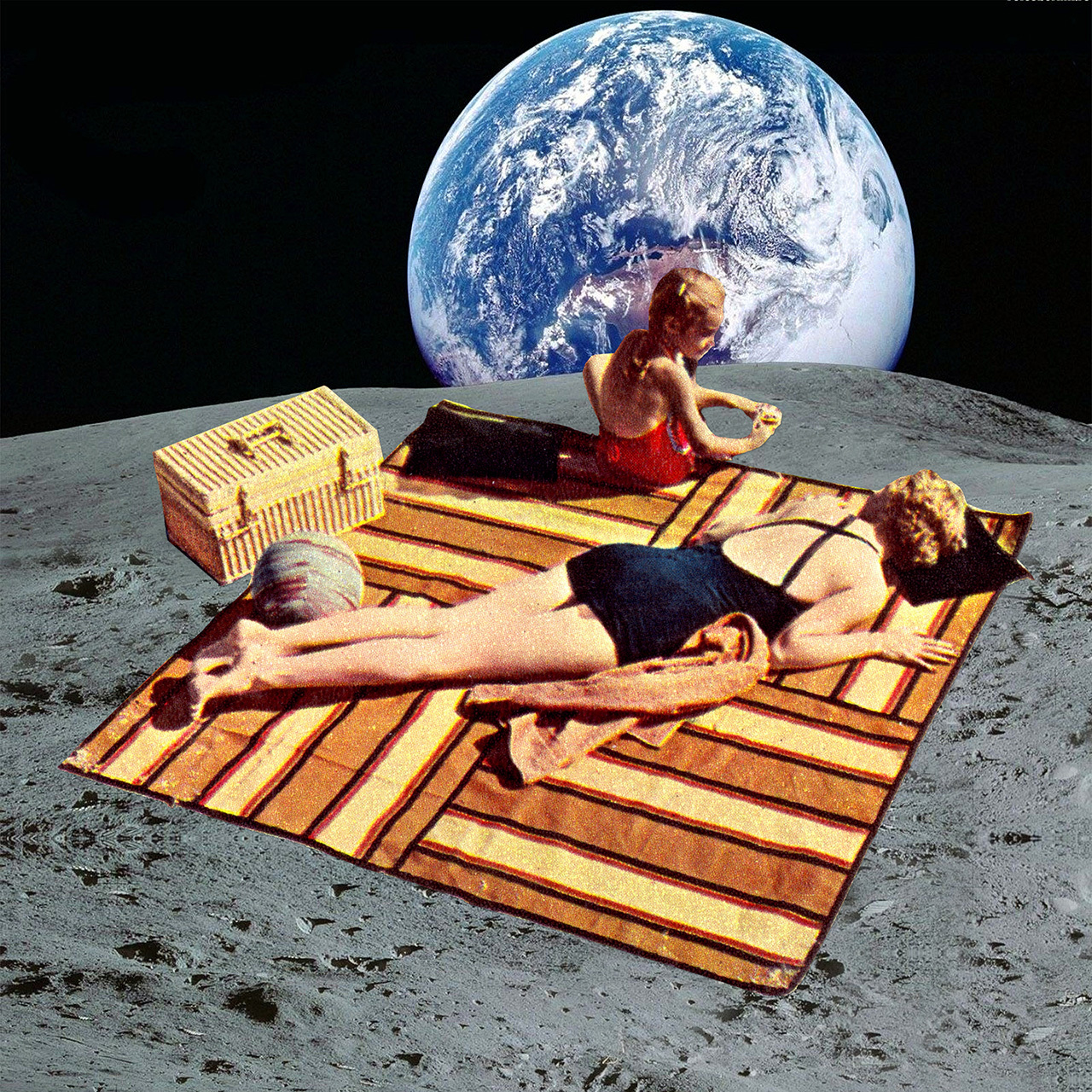 Collage, collage art, and sunbathing image