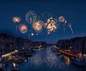 fireworks, night, and river image